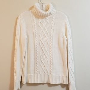 Eddie Bauer Cable Sweater, Ivory, Sz M